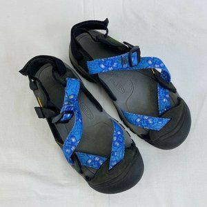 Keen Blue Floral Pattern Waterproof Sandals Womens